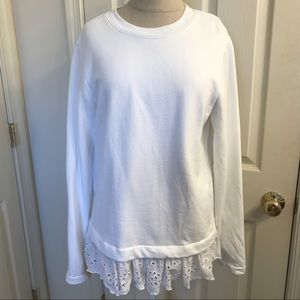 White Sweatshirt with eyelet ruffle trim